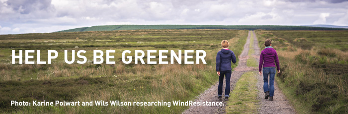 Karine Polwart and Wils Wilson researching for Wind Resistance on Fala Flow outside Edinburgh