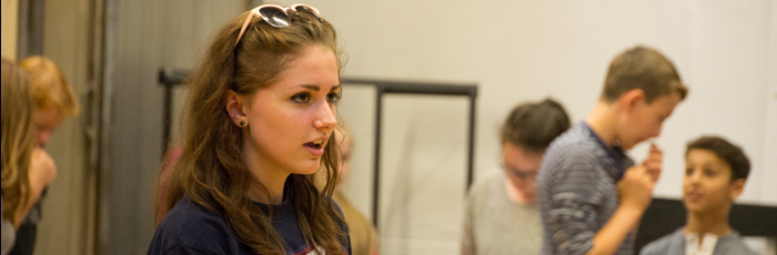 An image of a Lyceum Youth Theatre member taking part in group rehearsals