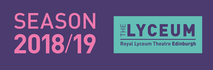 A purple banner with The Lyceum logo in green and the text 'Season 2018/19' in large pink capital letters.