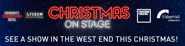 Christmas On Stage title treatment in red against a starry winter's night sky