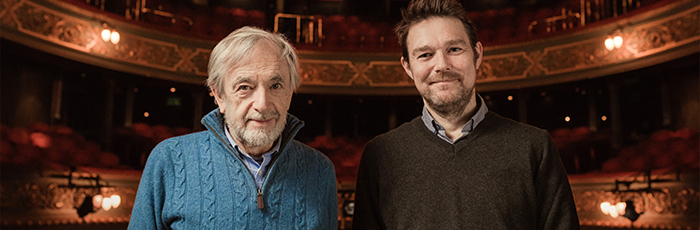 Bill Forsyth and David Greig photographed on stage at The Lyceum