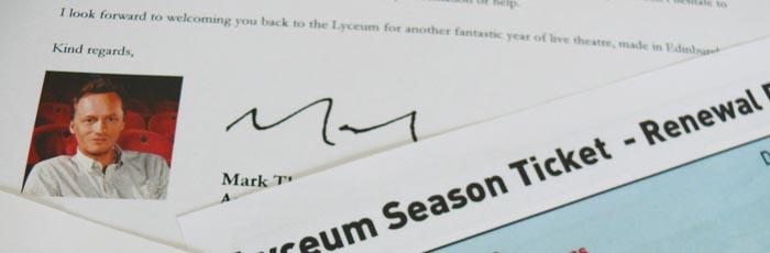 Lyceum Season Ticket Renewals 2013