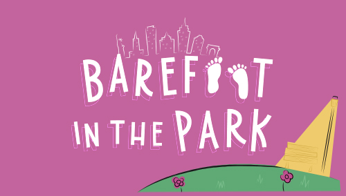 A 1960s syle title treatment in bold capital letters sits on a bright pink background, next to it is a park bench and the background a New Y