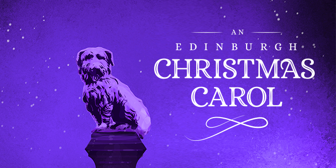 Greyfriars Bobby, a dog, sits on his plinth against a wintery backdrop