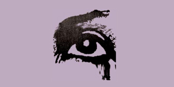 An dark image of an eye wearing make-up taken from an old poster sitting on a lavender background