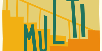 The title treatment 'Multi-Story' goes up and down some stairs