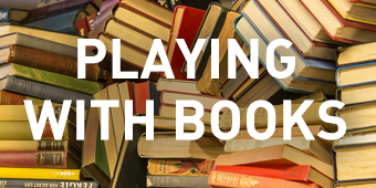 'Playing with books' title text sits on top of an image of lots of books