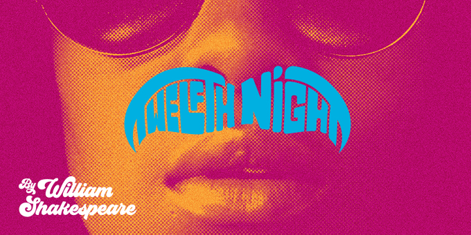 An orange and pink image of a woman's face wearing large sunglasses. The blue title treatment 'Twelfth Night' sits across her top lip like a