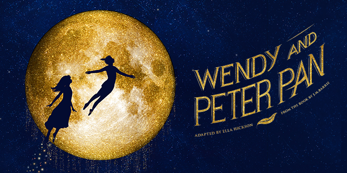 Wendy and Peter Pan fly across the bright moon in a starry night sky