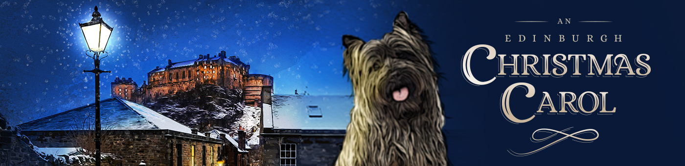 Greyfriars Bobby, a dog, sits on his plinth against a wintery backdrop of snow