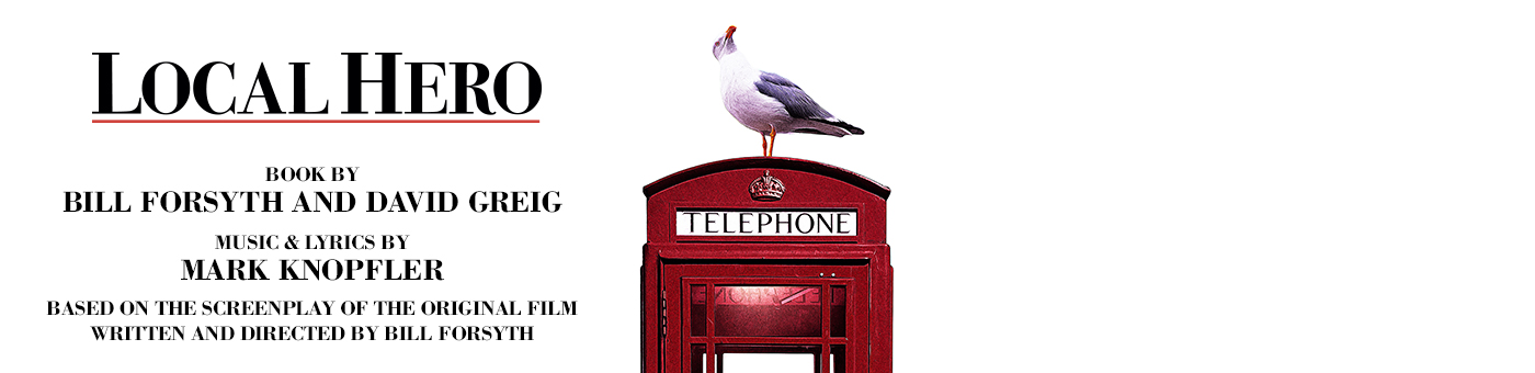 A seagull sits atop a red telephone box with the title 'Local Hero' written in large capitals beside it