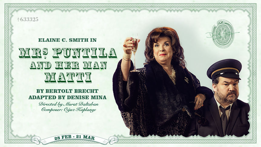 Elaine C Smith (Mrs Puntila) dressed glamorously raises a glass to camera as Steven McNicoll (Matti) looks on disgruntled