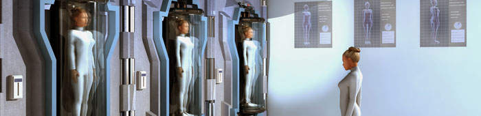 Think of  A Number, Ed Science Festival event. Image shows a woman looking at 3 clones of herself